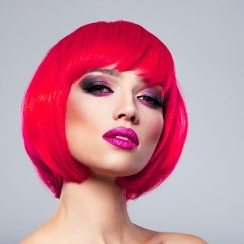 Beautiful young fashion woman with pink lipstick. Glamour fashion model with bright make-up